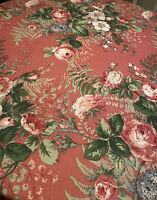Jay Yang Pink Floral Fabric English Country Style Cottage Core 4 Yards
