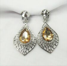 Silver Plated Clear Crystal & Yellow Stone Dangle Clip on Earrings Clipons #1107
