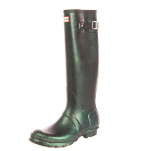 RRP €115 HUNTER Wellington Boots Size 38 UK 5 US 7 Green Coated Glitter Panel