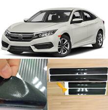 4pcs 5D Carbon Fiber Car Scuff Plate Door Sill Panel Step Protectors Cover Trim