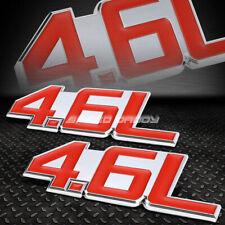 2X METAL BUMPER TRUNK GRILL FENDER EMBLEM DECAL LOGO BADGE CHROME RED 4.6 4.6L