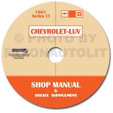 1981 Chevy Luv Shop Manual CD gas and Isuzu 2.2 Diesel Engine Repair Service