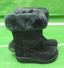 new Girls Timberland Waterproof Suede Boots Toddler Black Faux Fur Size  5C