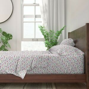 Small Scale Floral Purple Plum 100% Cotton Sateen Sheet Set by Spoonflower