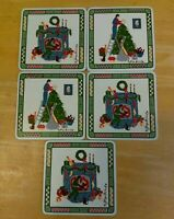 Georges Briard Christmas Theme Enameled Coasters Japan made Set Of 5