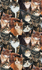 Cats Sew Curious Packed All Over Wilmington Fabrics Browns Quilt Craft 1/2 Yard