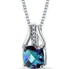 14K White Gold Created Alexandrite Diamond Pendant Checkerboard Cut 2.5 Carats