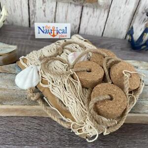 3x5 Decorative Fishing Net w/ Shells & Cork Floats - Off White Fish Netting