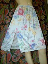 Vintage Retro Floral Print Nylon Tricot Lacy Slit Half Slip M-L