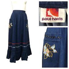 1970s Western Prairie Skirt / 70s Blue Denim Patchwork Below Knee Skirt / Small