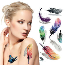 Waterproof Temporary Tattoos 3D Feather Pattern Sexy Body Art Tattoos Sticker