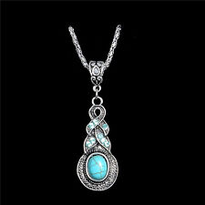 Wholesale Vintage Jewelry Silver Plated Chain Turquoise Pendant Necklace