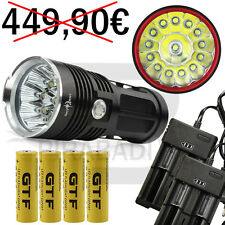 LAMPE TORCHE 14 LED 34000 LUMENS LED FLASHLIGHT POLICE + 4 PILES + 2 CHARGEUR