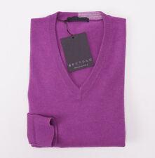 NWT $795 BERTOLO Solid Violet Purple 100% Cashmere V-Neck Sweater L/50 Italy