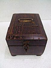 1850's Old Wood Glass Work Frame Barber Folding Shaving Box Vanity Travelling