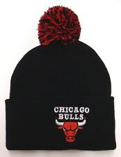 Chicago Bulls Adidas Embroidered Pom Fold Beanie Cap Black