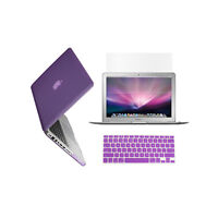 "3 in 1 Rubberized PURPLE Case for Macbook PRO 15"" + Keyboard Cover + LCD Screen"
