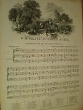 Old Music Sheet A Hymn for the Harvest of 1847 my ref S