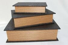 FLORAL LEATHER FAUX BOOKS STORAGE DECORATIVE BOXES -  DARK BROWN - 3PC SET