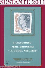 TESSERA FILATELICA FRANCOBOLLO SERIE ORDINARIA DONNA ARTE 1999  B3