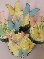 48 Precut Edible Pastel Mix Butterflies for cakes and cupcake toppers