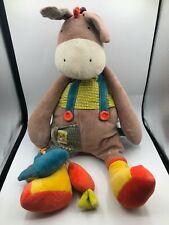 Moulin Roty Les Cousins Donkey Gardener Plush Kids Learning Toy Stuffed Animal
