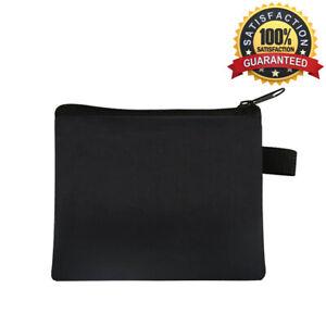 Black Soft Men Women Card Coin Key holder ZIP Genuine Nylon Wallet Pouch Bag