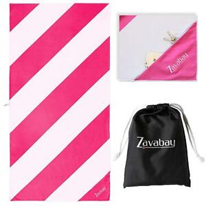 Microfiber Beach Towel for Swimming, Travel and Holidays - Fast Dry, Zip 63x31