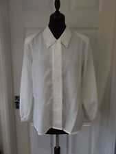 Women's Size 13 WT Wang Tai Vintage White Blouse with Shoulder Pads Smart Casual