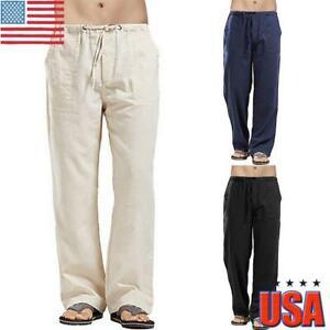 Mens Linen Pants Summer Casual Drawstring Loose Wide Leg Long Trousers Bottoms