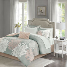NEW! ~ BEAUTIFUL MODERN CHIC GREY SOFT PINK WHITE FLOWER COMFORTER SET & SHEETS