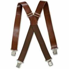 Brimarc Mens Real Leather Vintage Brown Braces Trouser Belt Suspender 35mm Wide
