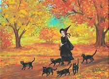ACEO PRINT OF PAINTING RYTA HALLOWEEN WITCH BLACK CAT VINTAGE STYLE FOLK ART