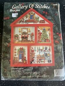 Bucilla Christmas House Counted Cross Stitch Hut Picture Set Complete Kit New