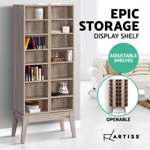 Artiss Bookshelves Display Shelves CD Media Storage Cabinet Rack Oak 150CM
