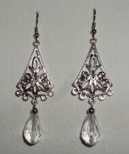 LOTUS FILIGREE LONG CLEAR FACETED GLASS DROP EARRINGS DARK SILVER PLATE Hook