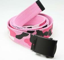 "Pink Camo 54""Reversible Web Belt 100% COTTON"