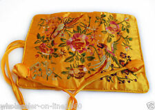 SILK JEWELRY TRAVEL BAG Roll Case Pouch Carrying Brocade Fabric Flower Golden