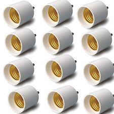 12 pcs GU24 To E26/E27 Adapters Convert Pin Base Fixture To Standard Bulb Socket