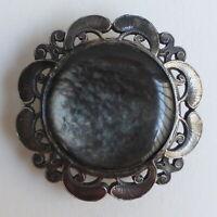 Bouton ancien - Métal & Nacre grise - 40 mm - Metal & Shell Paris Back button