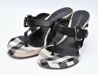 Burberry Made in Italy Authentic Novacheck Leather Thong Wedge Sandals Sz 38.5