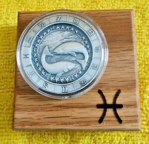 1 oz PISCES Ultra High Relief Zodiac .999 Pure Silver Round in Display Box !