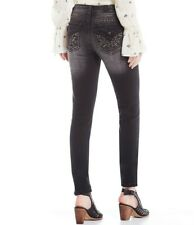 NWT MISS ME Hailey Embellished Flap Black Grey Skinny Jeans 27 x 30