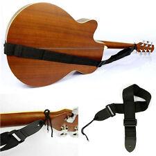 Adjustable Black Nylon Soft Acoustic Guitar Strap Ukulele Belt Bass Rock Folk