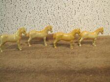 "(4) Vintage Hard Plastic Horses 2-3/4"" tall Old Toy Horses"