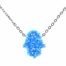 Faith Hamsa Hand Australia Silver Choker Sky Blue Real Opal Necklace Wedding