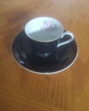 Vintage Made In Occupied Japan Black Cup With Saucer and pink rose