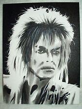 Canvas Painting Labyrinth Movie David Bowie Jareth C B&W 16x12 inch Acrylic
