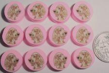 Cocker Spaniel on Pink Dog Polymer Fimo Clay Bead