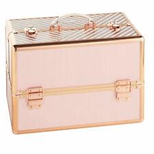 Beautify 10129 rofessional Large Lockable Vanity Make Up Storage Case - Blush Pink Stripe
